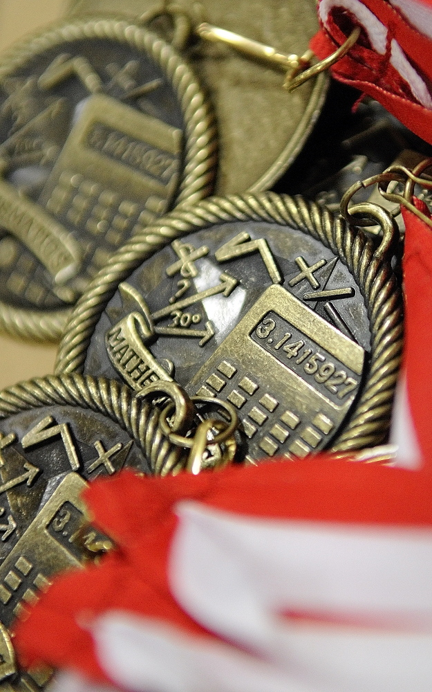 ACHIEVEMENT: These medals were given out during a ceremony for academic test scores on Thursday at Farrington School in Augusta.