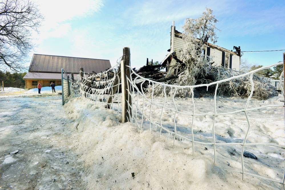 Thursday's aftermath of a house fire at 310 Cape Road in Hollis. The historic farmhouse was destroyed.