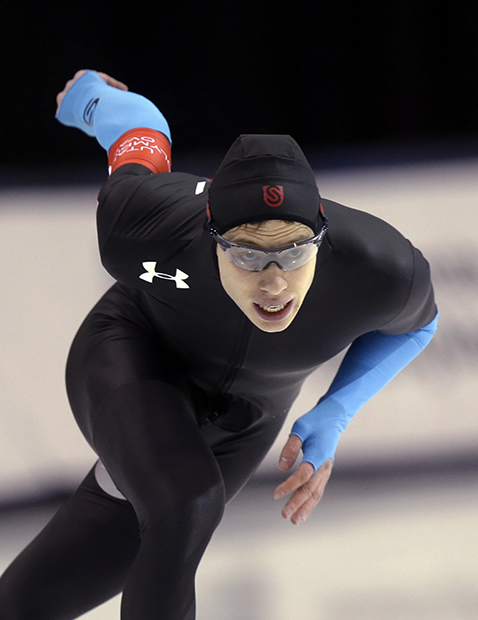 Brian Hansen competes in the men's 500 meters during the U.S. Olympic speedskating trials Saturday, Dec. 28, 2013, in Kearns, Utah. Hansen finished in third place.