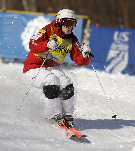 Hannah Kearney competes in the women's freestyle World Cup moguls event on Wednesday, Jan. 15, 2014, in Wilmington, N.Y. Kearney finished in third place.