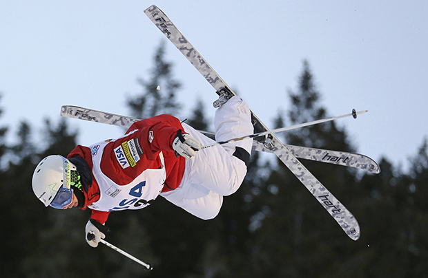 Patrick Deneen, of the United States, competes during the men's freestyle World Cup moguls event Saturday, Jan. 11, 2014, in Park City, Utah.