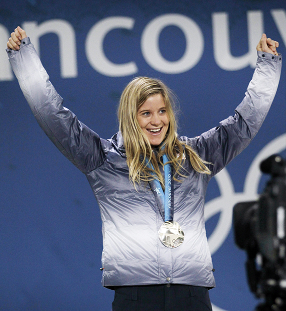 FILE - In this Feb. 19, 2010 file photo, Hannah Teter, of the United States, celebrates with her silver medal in the women's snowboard halfpipe at the Vancouver 2010 Olympics in Vancouver, British Columbia. Teter is among Vermont's lineup of at least 11 athletes who will compete in the 2014 Winter Olympics in Sochi, Russia.