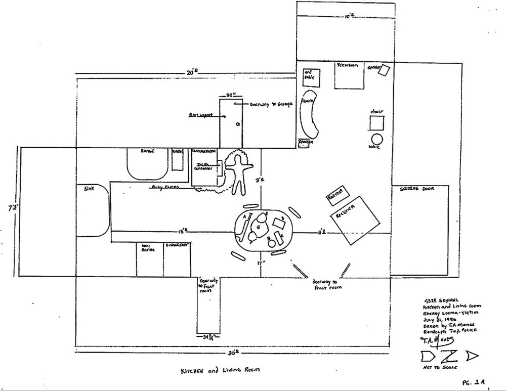 crime scene: An Ohio police department sketch shows the crime scene where Sherry Luoma, the ex-wife of James T. Luoma, now chaplain of VA Maine Healtchare Systems-Togus, was shot fatally in 1986.