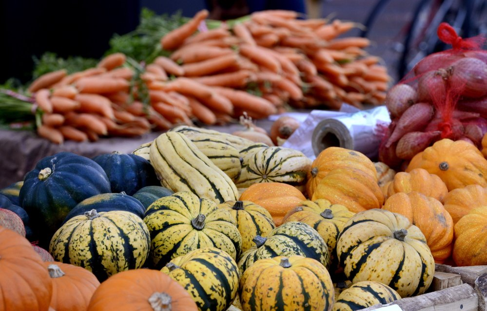 Harvest: A variety of squash stands on display Oct. 30, 2013, at the Portland Farmers Market. Clockwise from the bottom are sugar dumpling, pumpkins, acorn, delicata and golden acorns, arranged with carrots are in the background.