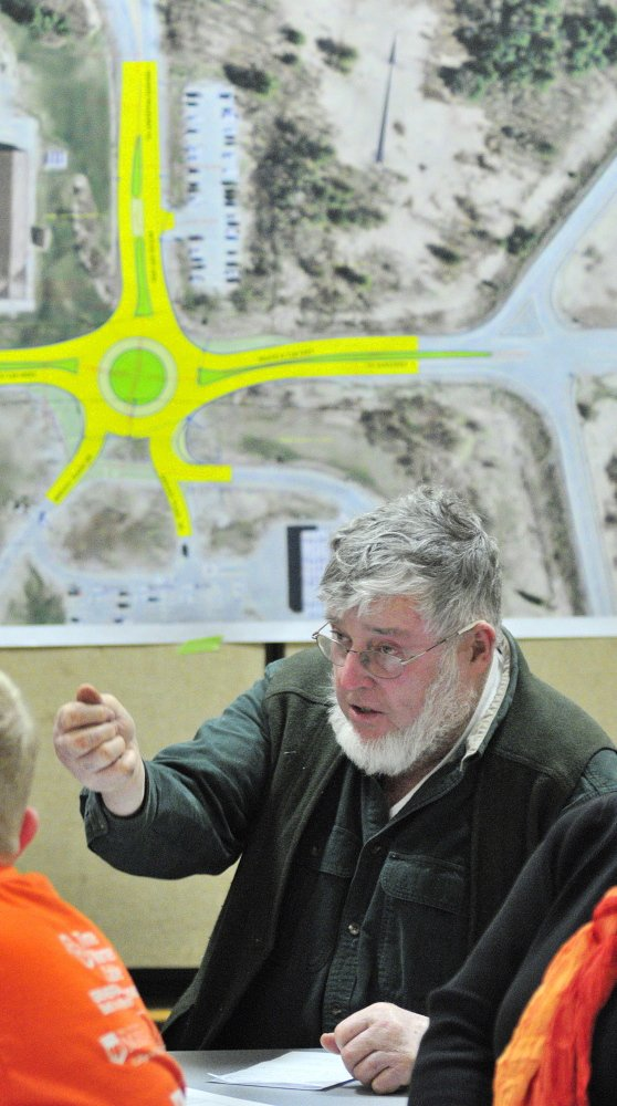 UNCERTAINTY ABOUNDS: John Marsh speaks during a public meeting held Tuesday at Helen Thompson School in West Gardiner by the state Department of Transportation to hear reaction to a planned roundabout.