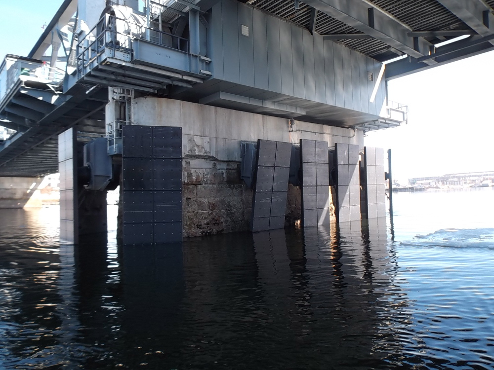 This photo shows the damage to a fender protection system on the Memorial Bridge that was struck by a tanker ship on Friday. One of the panels on the pier on the Maine side of the channel was sheared off and others were damaged.