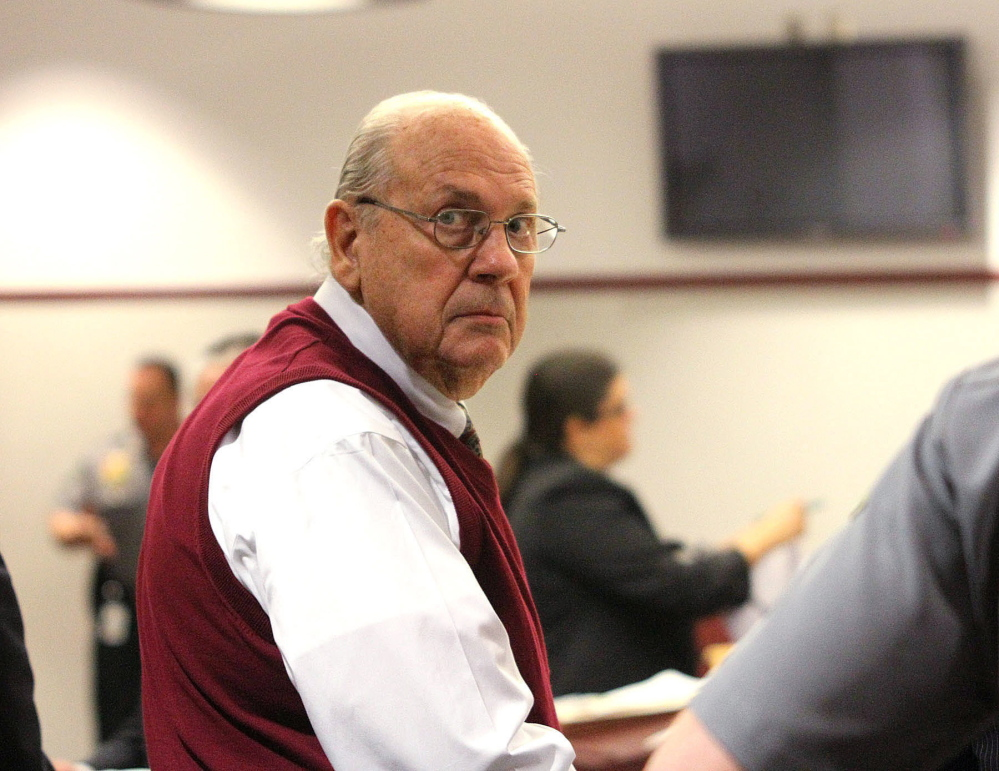 Curtis Reeves looks into the gallery during a court bond hearing in Dade City, Fla., in this Feb. 5, 2014, photo.