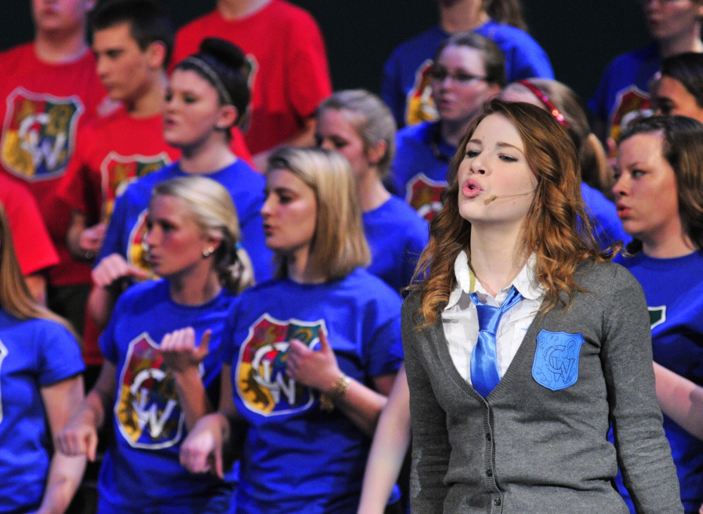 "Fool throttle: Maddison Reis sings ""Chain of Fools"" during a Chizzle Wizzle rehearsal Friday at Cony High School in Augusta."
