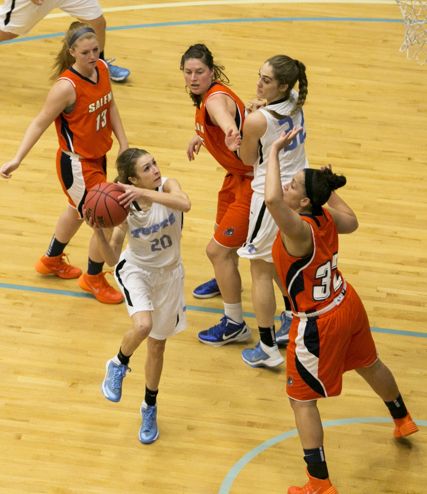 OFF To final Four: Tufts guard and Cony graduate Josie Lee goes up for a layup in a game against Salem State earlier this season. The Jumbos will play Fairleigh Dickinson University in the NCAA Division III Final Four on Friday in Stevens Point, Wis.