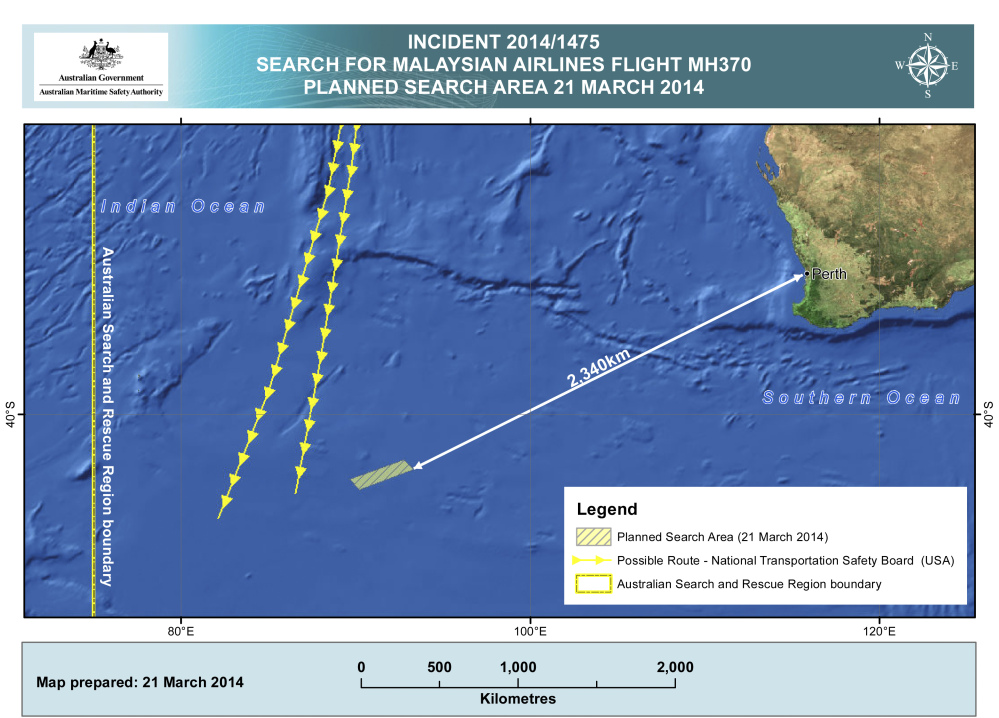 This map provided by Australian Maritime Safety Authority shows the area in the southern Indian Ocean where searchers for the missing Malaysia Airlines Flight MH370 were concentrating on Friday.