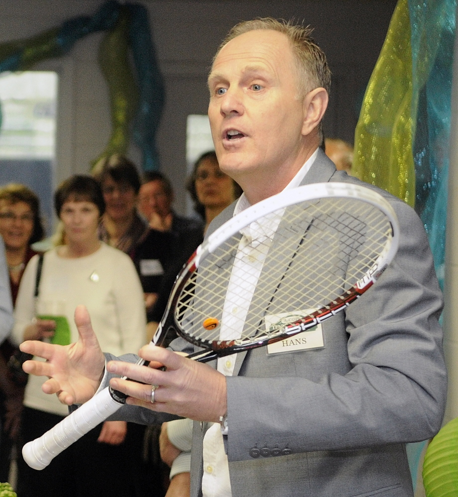 GRAND OPENING: Hans Romer, director of operations and tennis of the Kennebec Valley Tennis Association, speaks at the grand opening for the A-Copi Tennis and Sports Center on Saturday in Augusta.