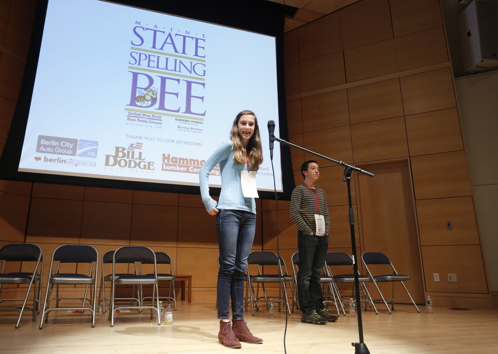 Lucy Tumavicus, 14, of Portland won the Maine State Spelling Bee on Saturday after an exceptionally long competition which lasted 94 rounds.