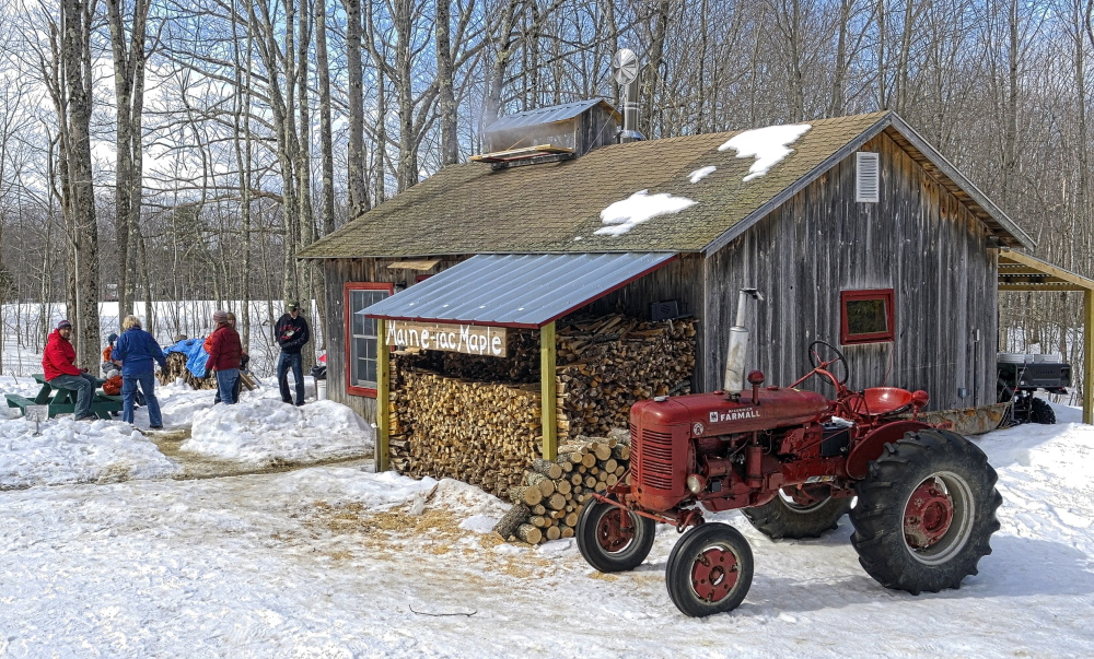 For more than pancakes: Because the cold weather this year has kept the sap from flowing, only a few pints of syrup have been produced at Maine-iac Maple Farms Richmond. It was used to top ice cream for visitors on Maine Maple Sunday on Sunday in Richmond.
