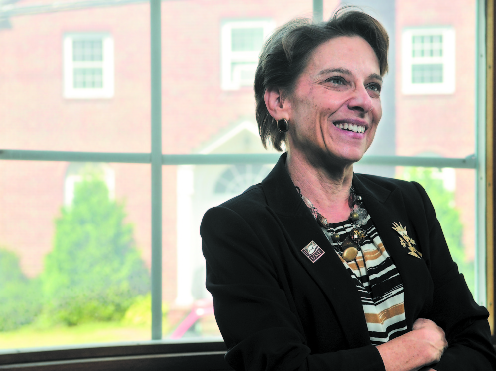 VERY MUCH ALIVE: Kathryn Foster, president of the University of Maine at Farmington, seen here in a file photo, was in Machias over the weekend; but a hoax email sent to students Monday said she had died of a stroke. The university is investigating.
