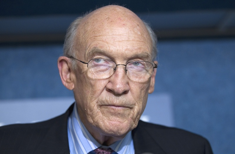 In this Sept. 12, 2011 file photo, Alan Simpson, speaks in Washington, D.C. A group of Republicans have come out in support of legalizing gay marriage in Utah and Oklahoma, arguing that allowing same-sex unions is consistent with the Western conservative values of freedom and liberty once championed by Ronald Reagan and Barry Goldwater. The group that includes former Sen. Alan Simpson of Wyoming and former Sen. Nancy Kassebaum of Kansas plans to file a friend of the court brief Tuesday, March 4, 2014, to a federal appeals court in Denver that is reviewing same-sex marriage bans in Utah and Oklahoma, said Denver attorney Sean Gallagher, whose firm wrote the 30-page argument.