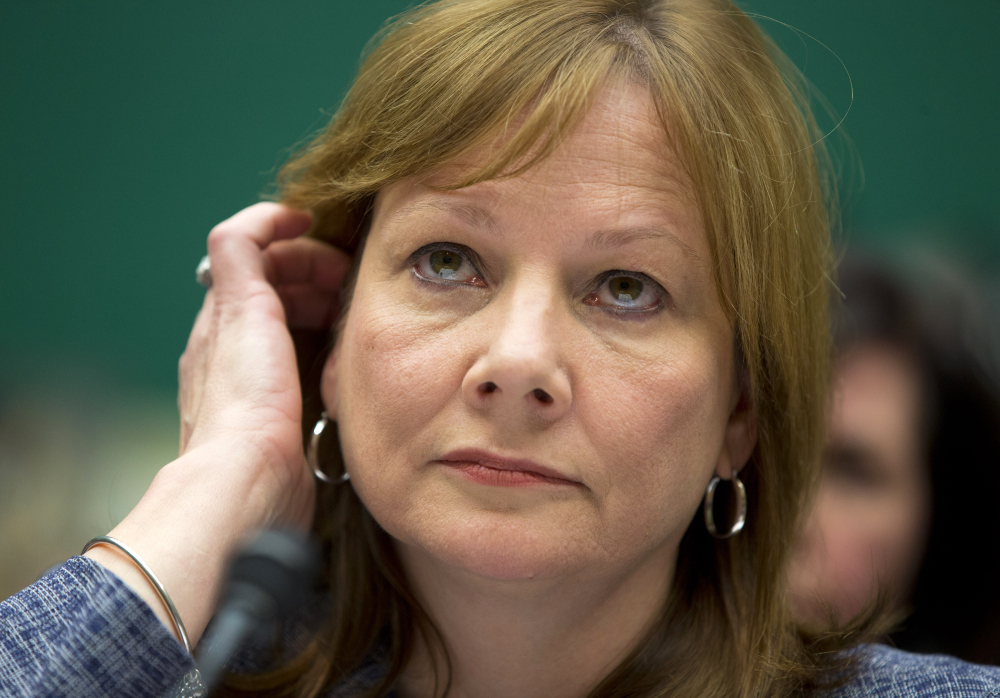 General Motors CEO Mary Barra listens to a question while testifying Tuesday before the House Energy and Commerce subcommittee on Oversight and Investigation.