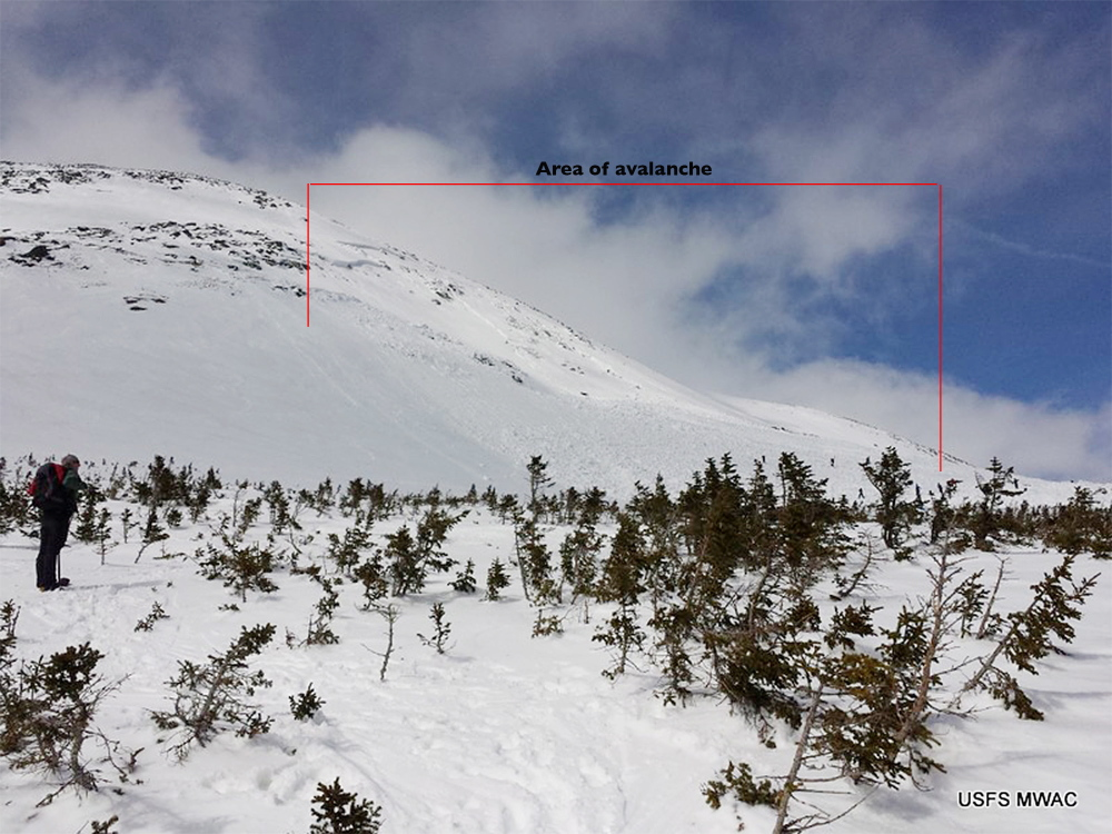 "A large avalanche on the southeast slope of the ""Summit Cone"" of Mount Washington on Saturday affected about 10 acres, and was as deep as 20 feet. It carried down a boulder the size of a small car, according to a snow ranger for the U.S. Forest Service."