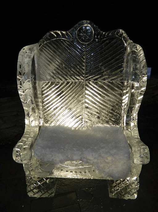 Ice chair sculpture at the Samoset's ice bar