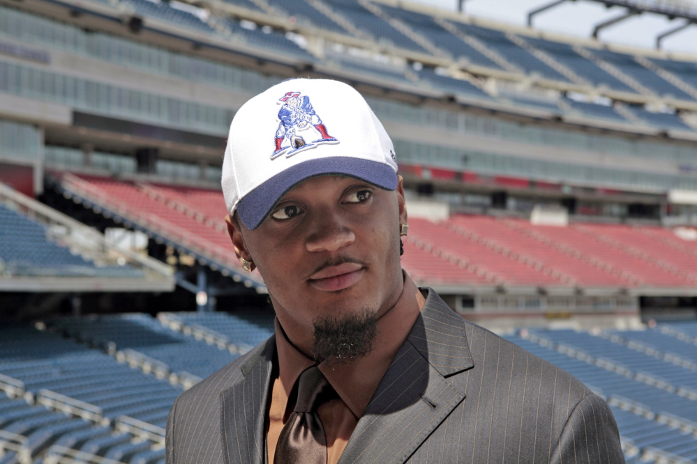 In this 2009 file photo, Patrick Chung, a strong safety from the University of Oregon, is introduced to the media by the New England Patriots at their stadium in Foxborough, Mass. Chung is returning to the Patriots after one year in Philadelphia.