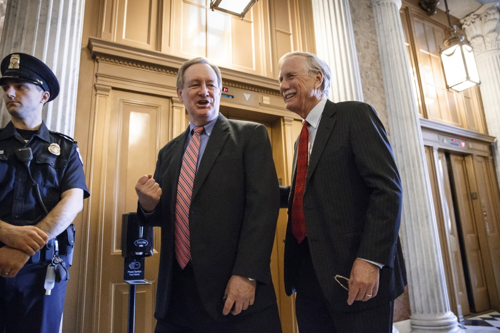 Sens. Mike Crapo, R-Idaho, left, and Angus King, a Maine independent, arrive on Capitol Hill recently. If the Senate is closely divided by party after the elections, King could be in a position to demand a powerful committee seat.