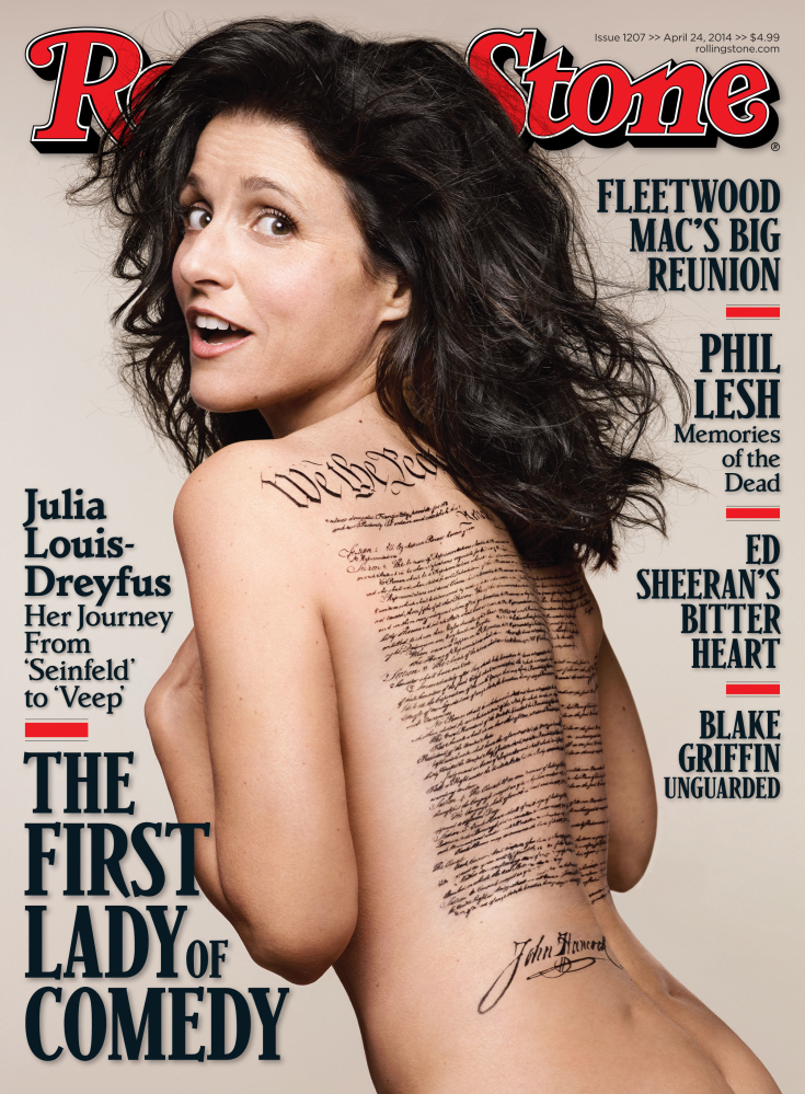 This undated photo released by Rolling Stone shows the cover of the April 24, 2014, issue of the magazine featuring actress Julia Louis-Dreyfus, photographed by Mark Seliger.