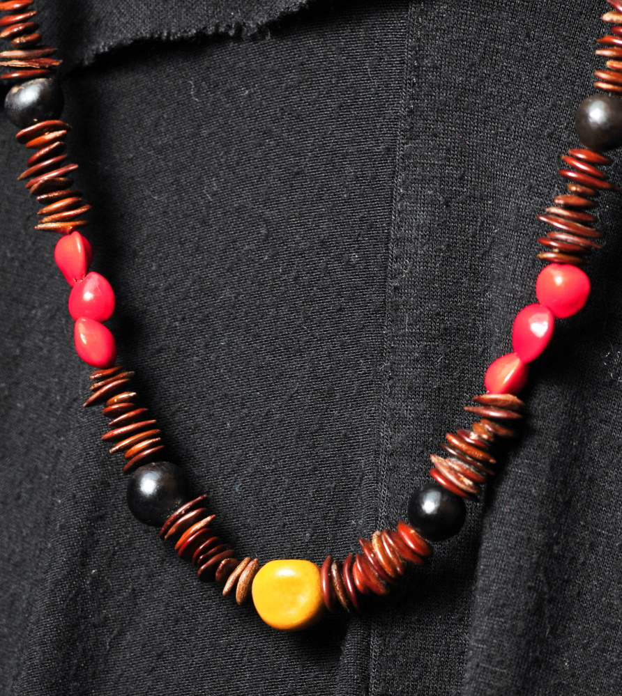 Local crafts: Heidi Strassberg-Bersani brought back this necklace made of seeds from a University of Maine of Augusta-sponsored trip to Cuba.