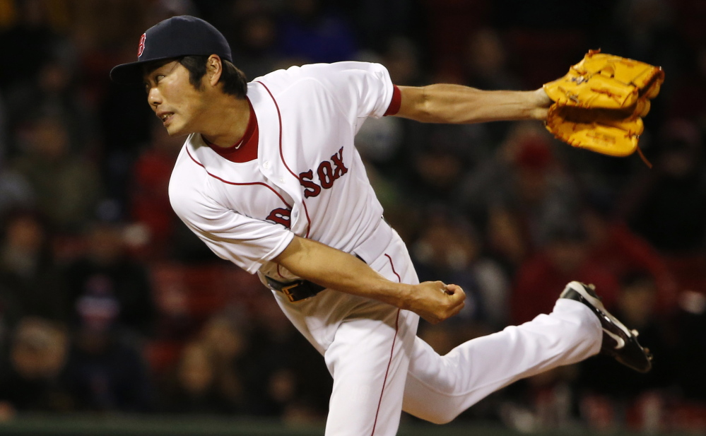 Red Sox reliever Koji Uehara is still out with stiffness in his right shoulder.