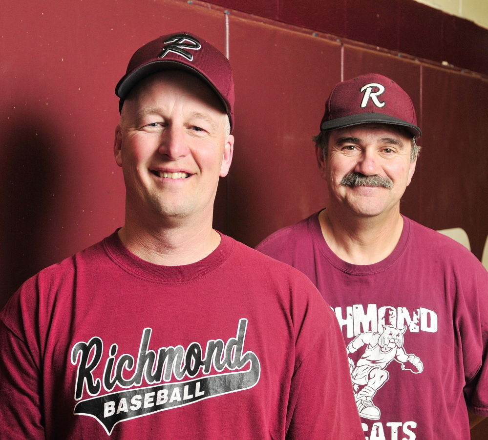 RICHMOND, ME - MARCH 11: Richmond baseball coaches Phil Gardner, left, and Phil Houdlette on Friday April 11, 2014 at Richmond High School. (Photo by Joe Phelan/Staff Photographer)