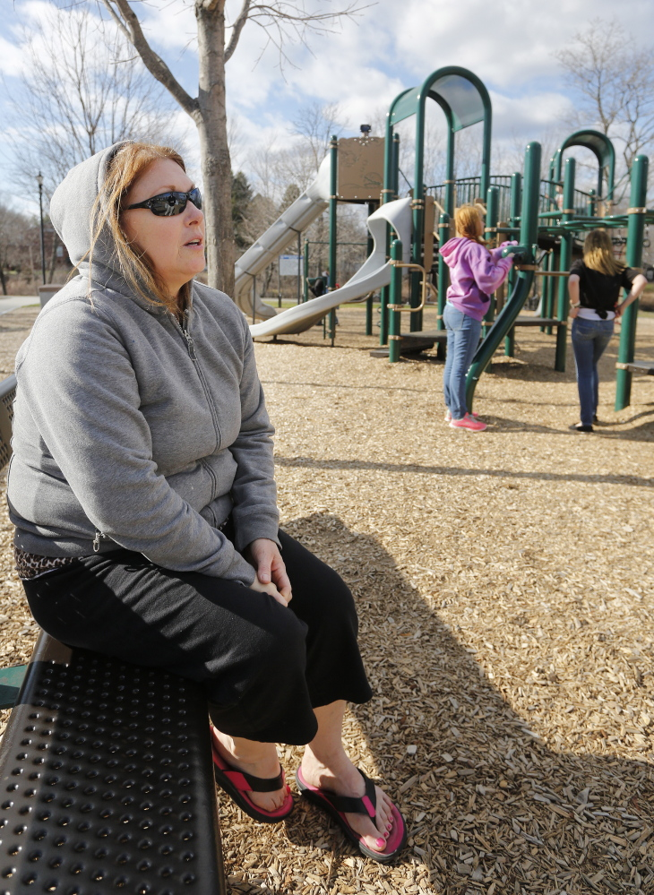 """Carmen Douglass, who was watching her grandchild play at Riverbank Park in Westbrook on Thursday, says the city's schools have to use policies and punishments that reaffirm the lessons of """"what is right and what is wrong"""" that teenagers should be learning at home."""