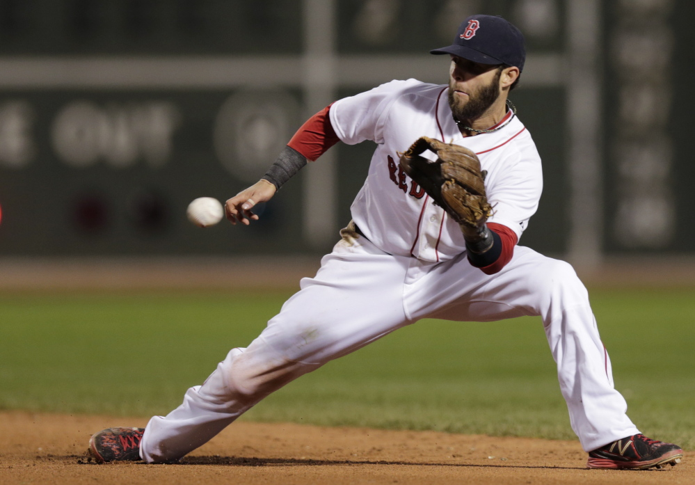 Boston's Dustin Pedroia fields a grounder by Brian Roberts in the fifth inning Thursday, but an earlier error by the second baseman helped put the Red Sox down early on the way to an embarrassing rout.