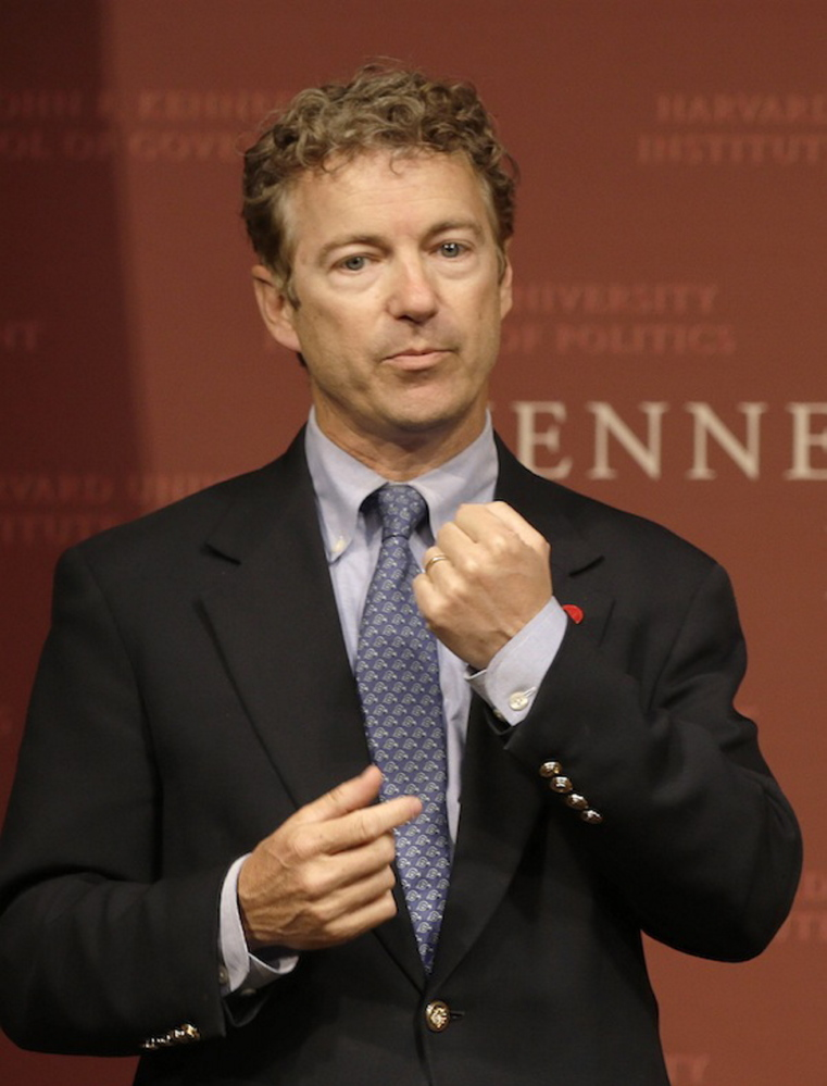 Sen. Rand Paul, R-Ky. gestures as he emphasizes a point during his public address at the John F. Kennedy Jr. Forum Institute of Politics at the Harvard Kennedy School, Friday April 25, 2014, in Cambridge, Mass. Paul is speakign the Maine GOP's state convention Saturday.