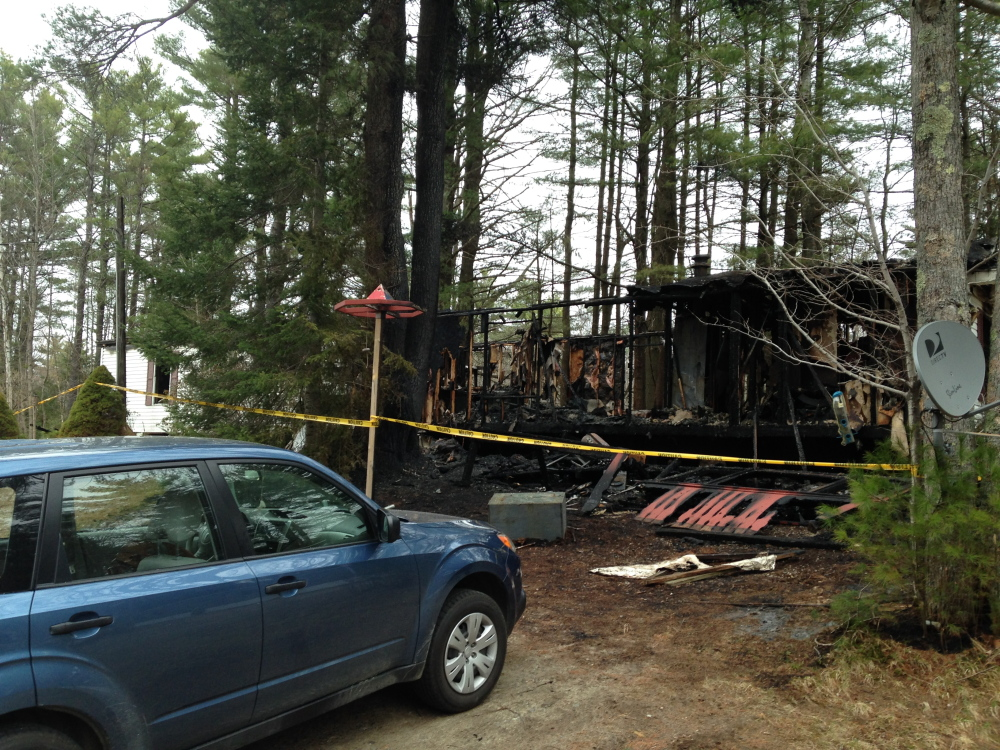 IN RUINS: This home at West Village Trailer Park was destroyed by fire around 1 a.m. Wednesday, according to Monmouth Fire Chief Dan Roy.