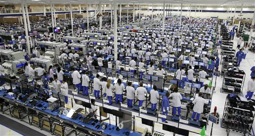 Workers man the Motorola smartphone plant in Fort Worth, Texas, in this 2013 photo. Since 2004, U.S. manufacturers have improved their competitiveness compared with every major exporter except India, Mexico and the Netherlands.