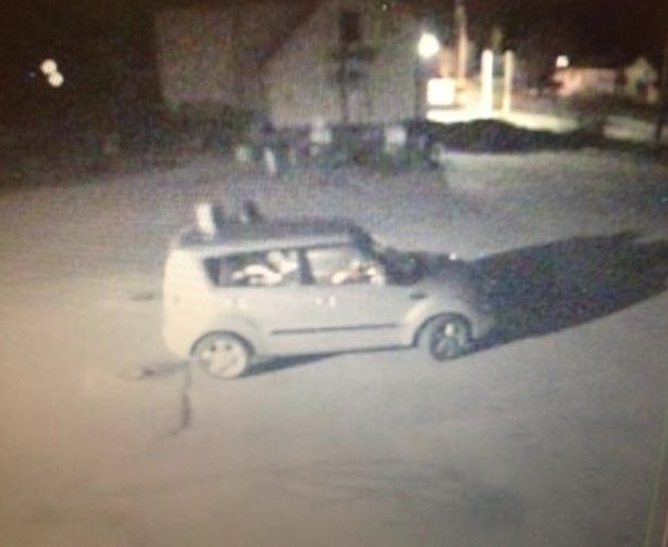 This surveillance image shows a Kia Soul outside the Buckfield Mall convenience store early Sunday morning.