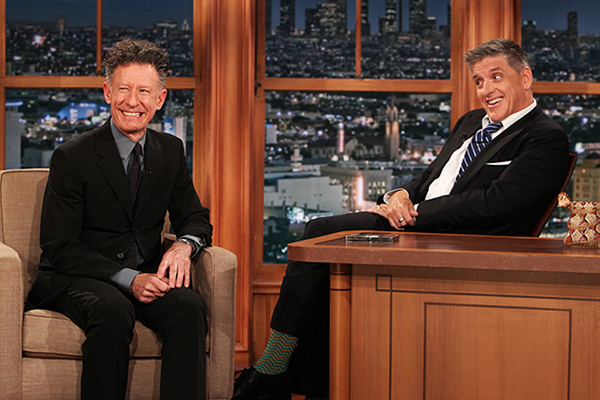 Lyle Lovett, left, joins Craig Ferguson on