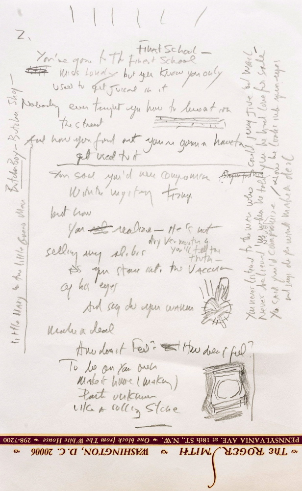 """A page from a working draft of Bob Dylan's """"Like a Rolling Stone,"""" one of the most popular songs of all time."""