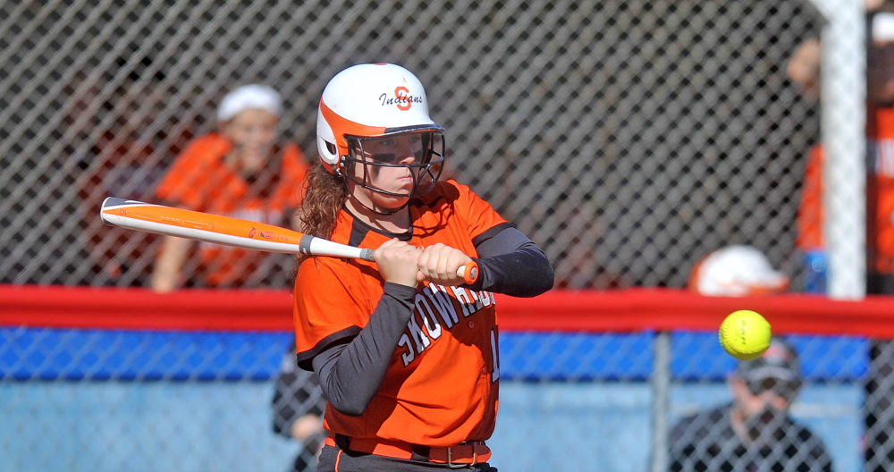 Staff photo by Michael G. Seamans Andrea Quirion, 16, eyes a pitch from Messalonskee High School in Oakland on Friday. Skowhegan defeated Messalonskee 3-0.