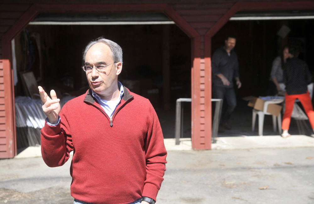 Connections: Bruce Poliquin, a candidate for the Republican nomination for the 2nd Congressional District seat, talks about his connection to Oakland and Waterville on Friday from his driveway at his residence in Oakland.