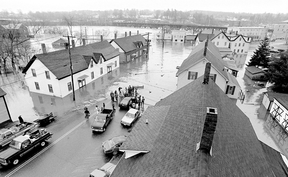 1987: Flooding on Bond Street after Bond Brook and the Kennebec River spilled over their banks in Augusta in 1987.