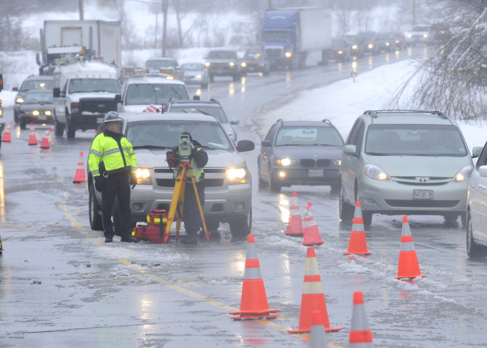 Solutions for Safety: Police reconstruct a two car accident that claimed the life of a man and injured a woman on U.S. Route 202 in Winthrop in March.