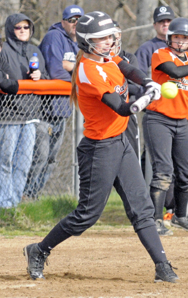 Gardiner's Julia Nadeau hits a bases clearing two-run double in the fourth inning on Tuesday May 6, 2014 during a game at Gardiner Area High School. (Photo by Joe Phelan/Staff Photographer)