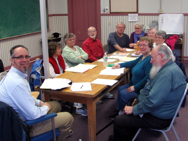NEIGHBORS: The initial group of volunteer residents with the New Sharon Village Elders Club seen at their May 1 meeting. The group is trying to revive a culture of neighbors helping neighbors in need.