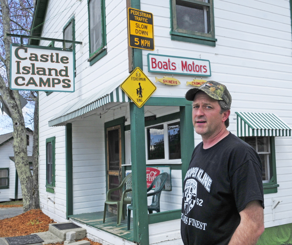 WORRIED ABOUT SAFETY: John Rice, owner of Castle Island Camps, talks about signs on Wednesday in Belgrade.