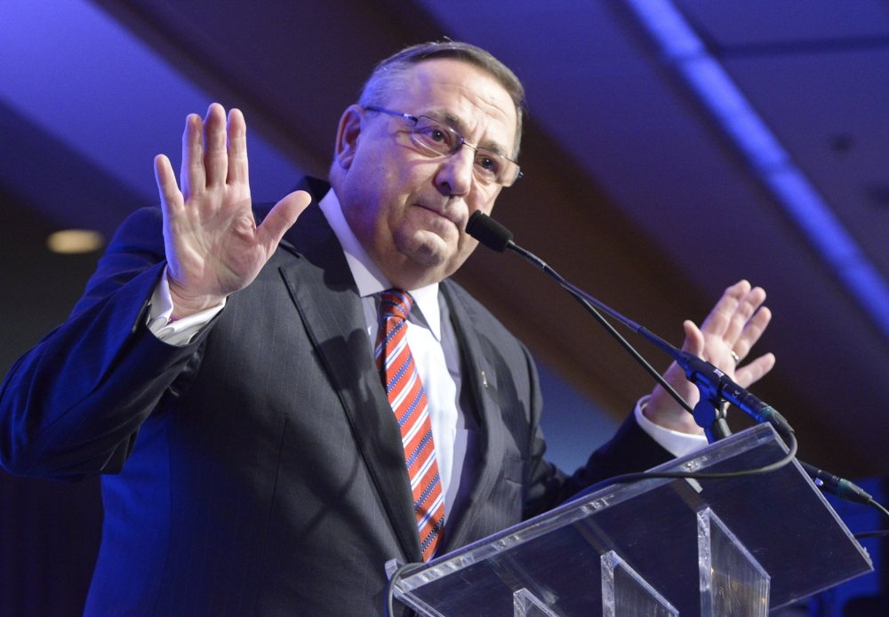 Gov. Paul LePage speaks Thursday morning at the Portland Regional Chamber's Eggs & Issues breakfast at the Holiday Inn by the Bay in Portland.