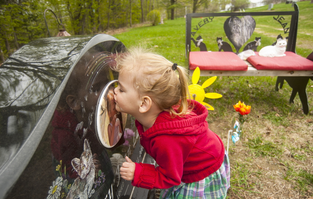 Kiss: Riley Souzer, 2, kisses the headstone of her half-sister, Avery Jean Lane, at the North Fairfield Friends Meeting House cemetery on Thursday. It's an act that Riley performs each time she visits her half-sister's resting place. Lane's grave site was recently vandalized and authorities are still searching for the culprits.