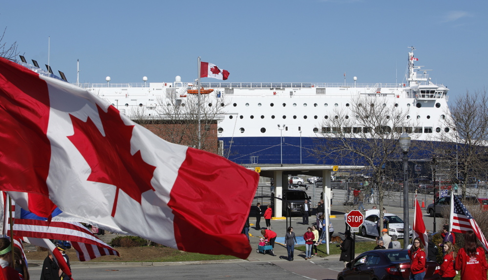 Residents of Yarmouth, Nova Scotia, welcome the Nova Star cruise ship Friday morning as it arrives from Portland on its maiden voyage.