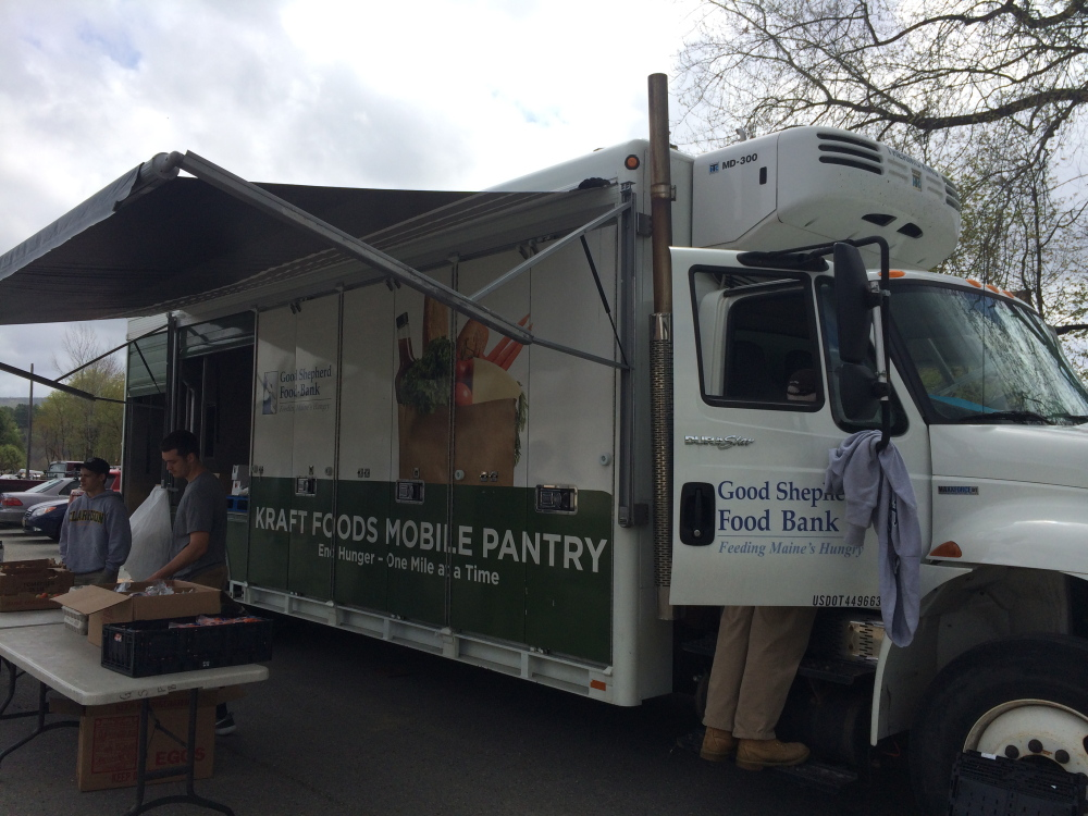 FOOD ON THE GO: The Good Shepherd Food Bank Mobile Food Pantry program truck parks for the morning at the Bingham Area Health Center on Friday. The program distributes food to areas of the state where need has outgrown the capacity of local pantries.