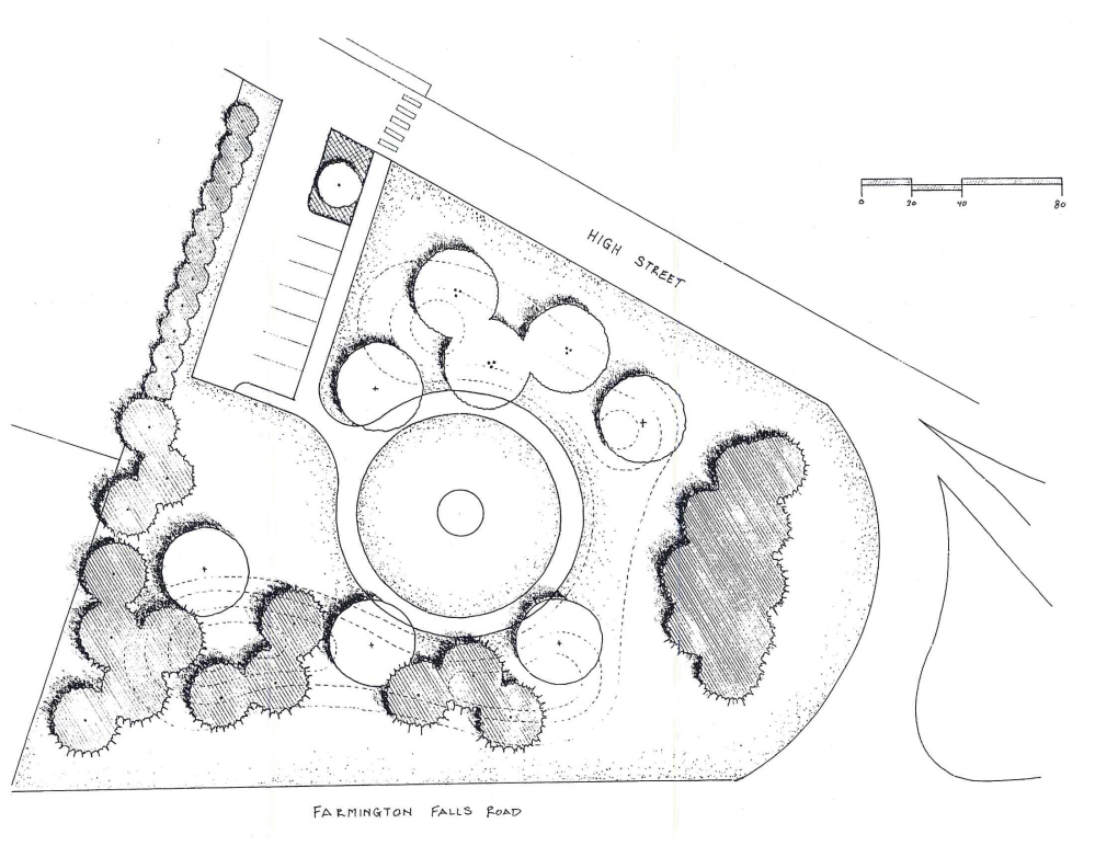 PROPOSED IMPROVEMENT: A preliminary sketch shows a proposal to landscape a town owned lot at the intersection of Farmington Falls Road, also U.S. Route 2, and High Street. The darker circles represent proposed coniferous trees and the light circles are for deciduous trees.