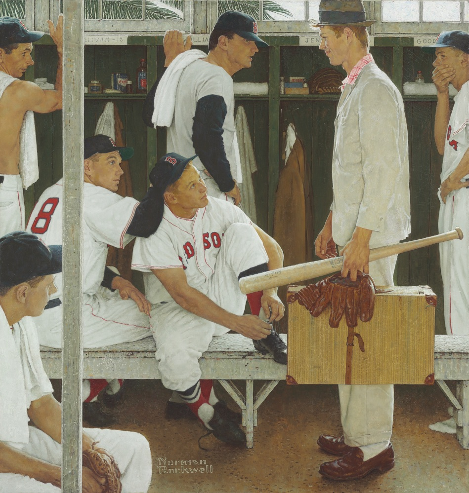 "Norman Rockwell's ""The Rookie (Red Sox Locker Room),"" showing pitcher Frank Sullivan, right fielder Jackie Jensen and catcher Sammy White, second baseman Billy Goodman and Hall of Famer Ted Williams, was exhibited this month at Fenway Park and the Museum of Fine Arts in Boston."