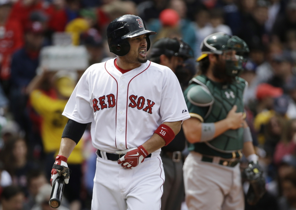Boston's Shane Victorino is back on the disabled list with a strained right hamstring. Victorino started the year on the DL with the same injury and returned April 24.